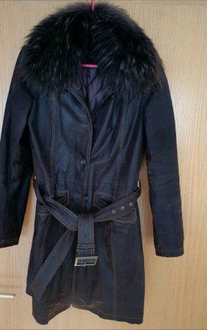Selecta Abrigo de cuero marrón oscuro-marrón Cuero