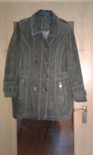 Skórzany płaszcz ciemnozielony-ciemnobrązowy