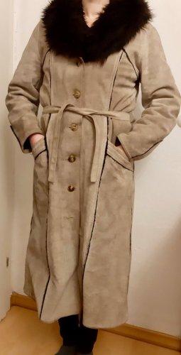 Manteau en cuir gris brun-noir