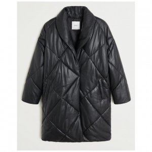 Mango Leather Coat black leather