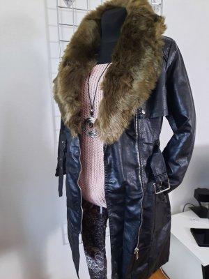 Manteau en cuir noir-kaki cuir