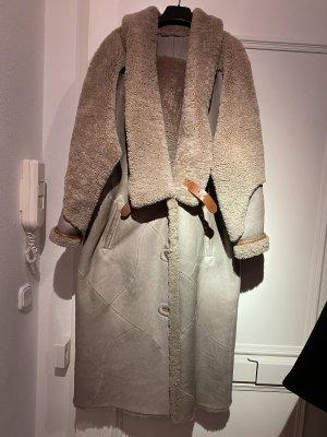 Cappotto in pelle marrone-grigio-cognac