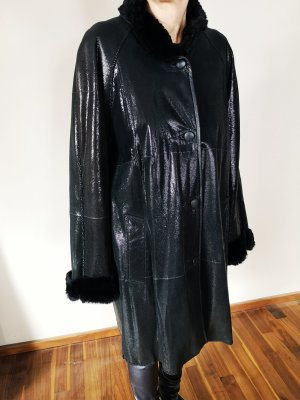 nicht angegeben Skórzany płaszcz czarny