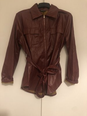SheIn Leather Coat bordeaux-brown red