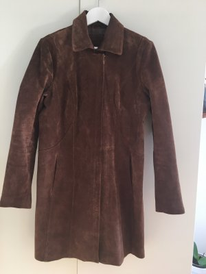 Reserved Abrigo de cuero marrón oscuro-marrón