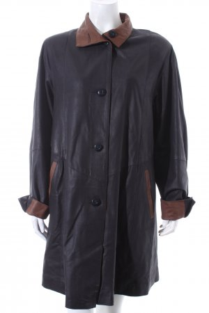 Abrigo de cuero negro-marrón Estilo ciclista