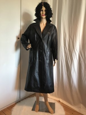 Ledermantel schwarz, unisex, A-Form, L / XL