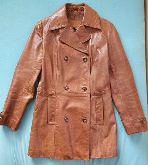 Timberland Skórzany płaszcz cognac Skóra
