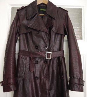 Abrigo de cuero rojo zarzamora Cuero