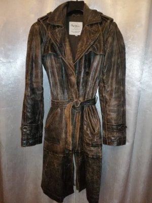 Manteau en cuir brun foncé