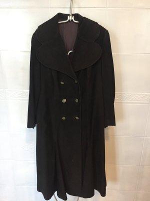Abrigo de cuero marrón oscuro