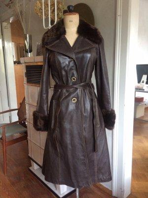 El Corte Ingles Manteau en cuir taupe-brun foncé cuir