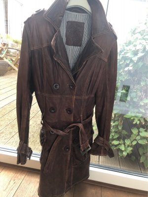 Maze Manteau en cuir brun rouge cuir