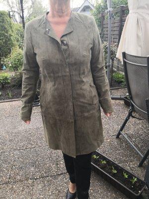 Riani Skórzany płaszcz oliwkowy