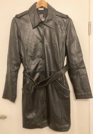 Street One Manteau en cuir gris foncé-noir