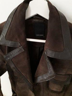 Vero Moda Abrigo de cuero marrón