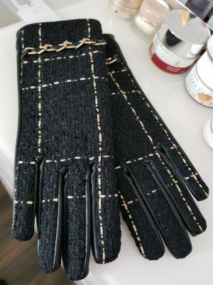 Rinascimento Gants en cuir noir-doré