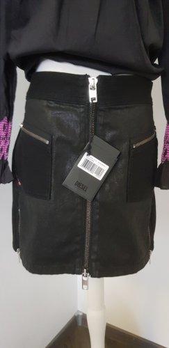 Diesel Falda de cuero de imitación negro