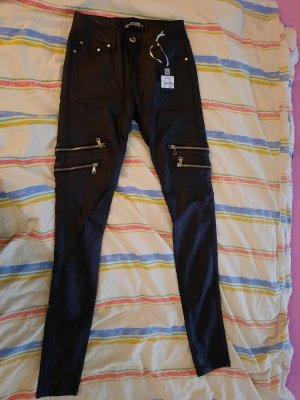 Haily's Pantalone in pelle nero-argento