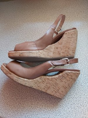 Bruno Premi Wedge Sandals light brown leather