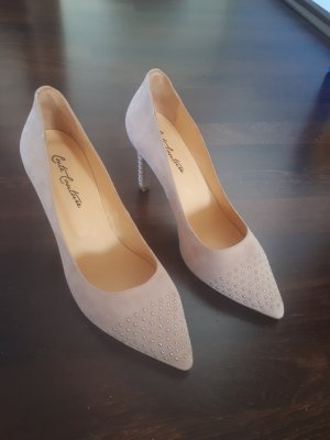 Cute Couture Pointed Toe Pumps cream-dusky pink leather