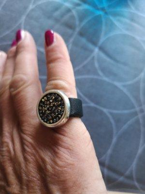Handmade Zdobiony pierścionek czarny-srebrny