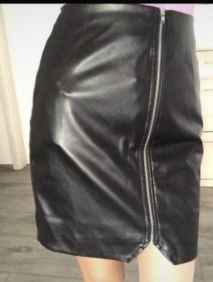 Bohoo Faux Leather Skirt black
