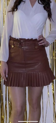Zara Woman Leather Skirt brown-gold-colored