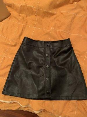 Pull & Bear Jupe en cuir noir