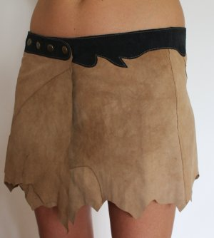 Leather Skirt beige-anthracite leather