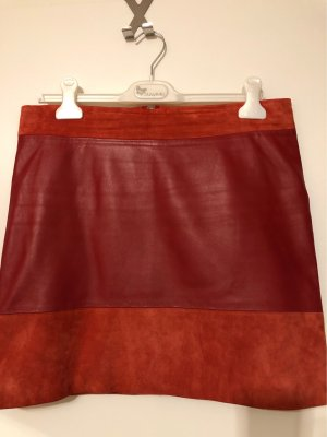 Leather Skirt dark red-brick red leather