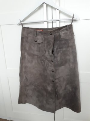 Taifun Collection Jupe en cuir gris brun