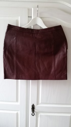 Promod Leather Skirt blackberry-red leather