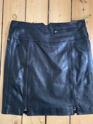 Unbekannte Marke Falda de cuero negro