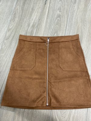 Blind Date Faux Leather Skirt brown