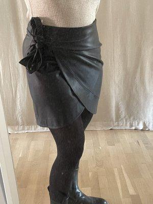 Mango casual Skórzana spódnica czarny