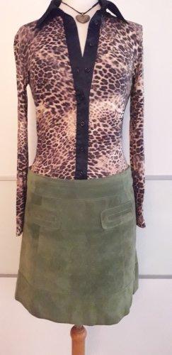 Hallhuber Falda de cuero verde bosque