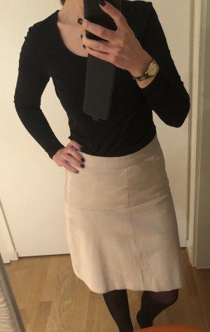 Hallhuber Falda de cuero crema