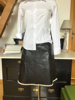 Laura Scott Falda de cuero negro-blanco puro tejido mezclado