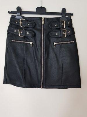 Lederrock in schwarz mit Details