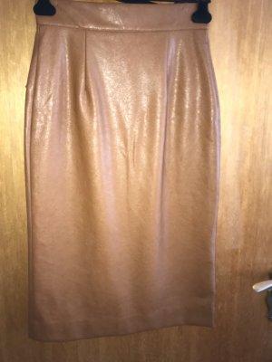 H&M Falda de cuero de imitación marrón