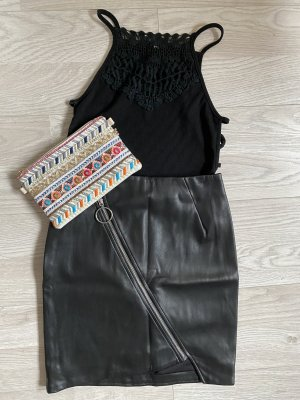 H&M Leather Skirt black-silver-colored