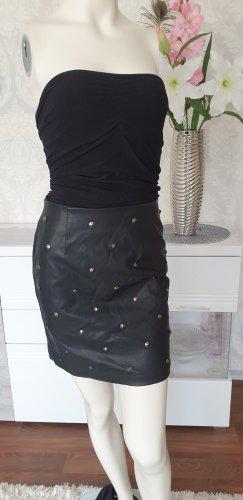 Lederrock mit Nieten schwarz