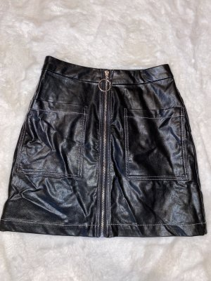 Boohoo Leather Skirt black-silver-colored