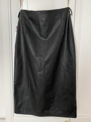 Skórzana spódnica czarny Wiskoza
