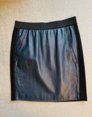 Sandro Leather Skirt dark blue-black