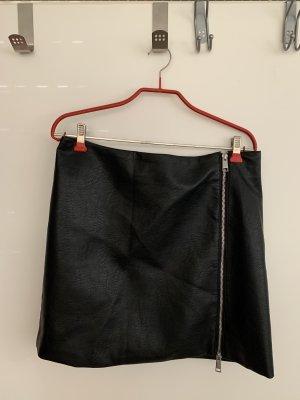 H&M Jupe en cuir noir-argenté