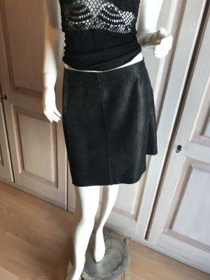 Sandwich Leather Skirt black suede