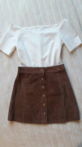 Stradivarius Leather Skirt light brown-camel