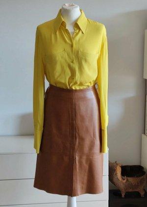Plein sud Falda de cuero marrón-coñac Cuero